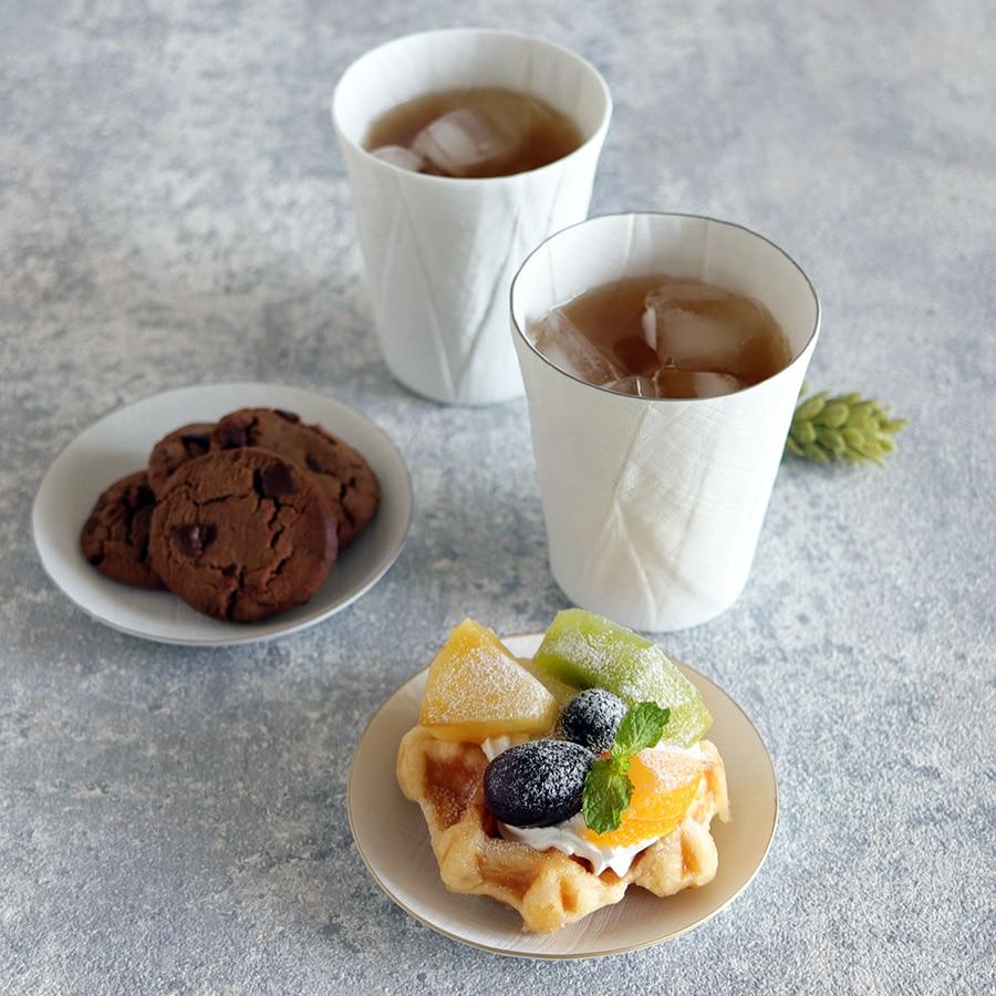 ceramic mimic fabric リネン 小皿(縁に色付き)