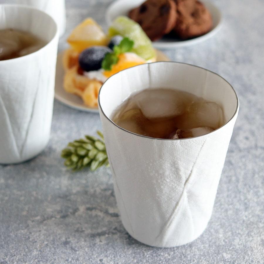 ceramic mimic fabric リネン タンブラー(色付き)