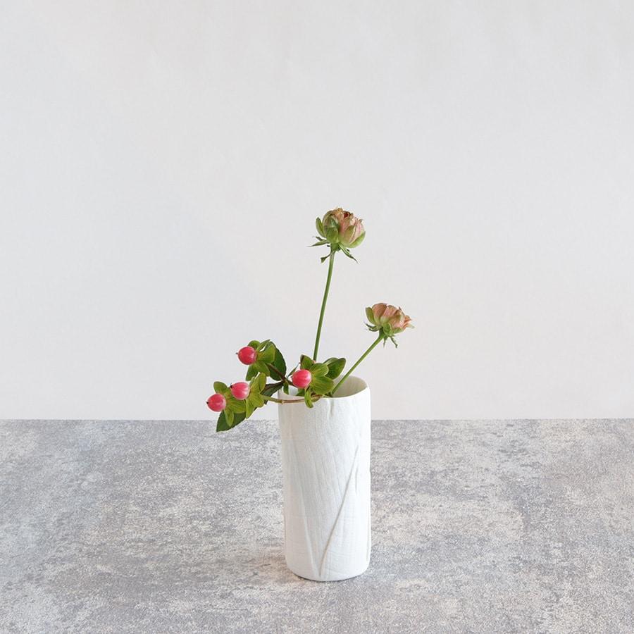 ceramic mimic fabric リネン フラワーベース(S)