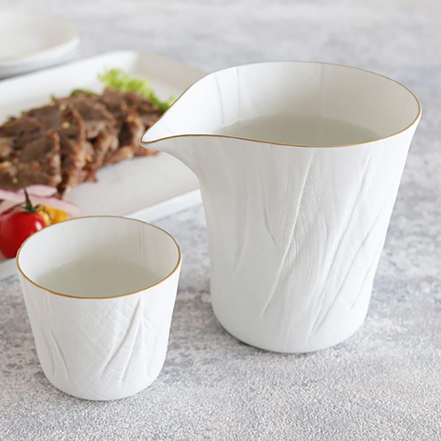 ceramic mimic fabric リネン 片口(縁に色付き)