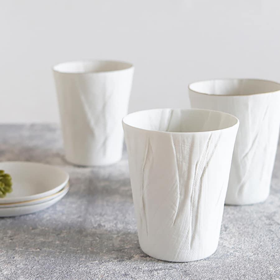 ceramic mimic fabric リネン タンブラー(プレーン)